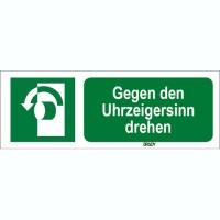 ISO 7010 Zeichen - Gegen den Uhrzeigersinn drehen-STDE E018-297x105-PE-CRD/1