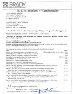 BradyJet J5000 EU Declaration of Conformity