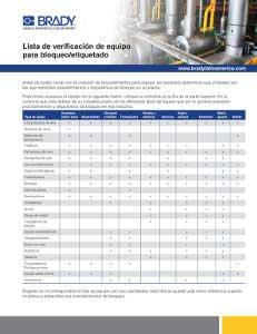 Lista de verificación de máquinas para bloqueo - etiquetado