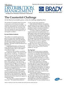 The Counterfeit Challenge: Modern Distribution Management