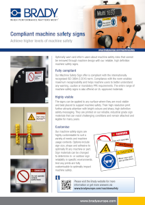 Compliant machine safety signs sellsheet - English