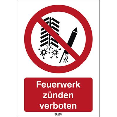 ISO-veiligheidspictogram – Ontsteken van vuurwerk verboden-P/P040/DE101/PE-297X420-1