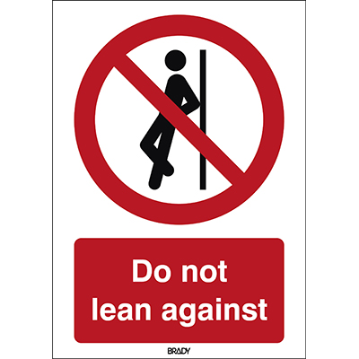 ISO Safety Sign - No leaning against-P/P041/EN399/ALU-210X297-1
