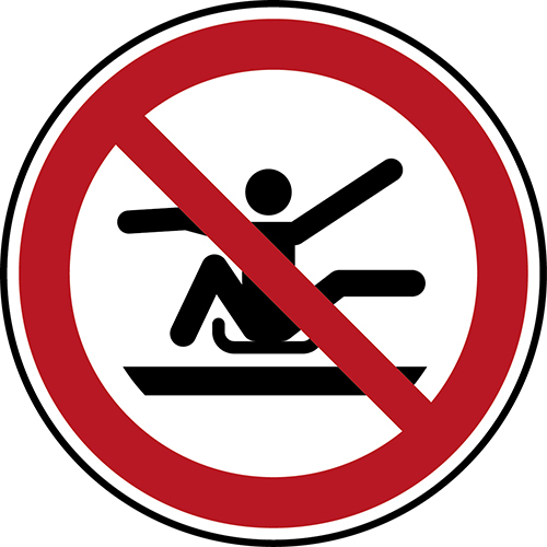 ISO Safety Sign - Do not stretch out of toboggan