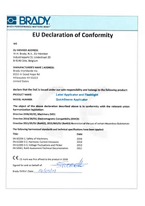 Quicksleeve Applicator Declaration of Conformity - English