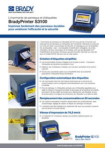 S3100 Sign & Label Printer sellsheet - French
