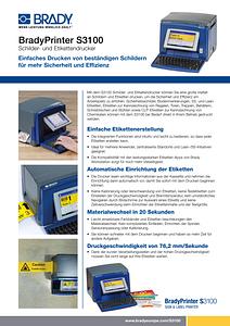 S3100 Sign & Label Printer sellsheet - German