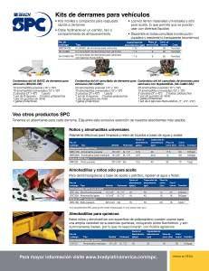 Hoja informativa de los nuevos kits de derrames para vehículos