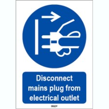 Iso 7010 Sign Disconnect Mains Plug From Electrical Outlet 818782