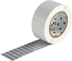 Printable, tamper-evident, metallised vinyl labels for thermal transfer printers.