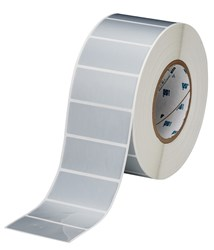 Printable, tamper-evident, metallised vinyl labels for thermal transfer printers.