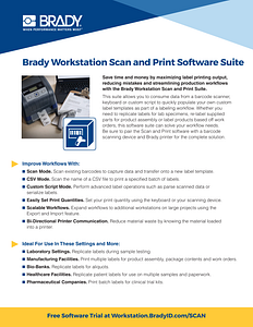 Brady Workstation Scan and Print Software Suite Informational Sheet