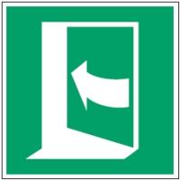 ISO Sicherheitskennzeichnung - Tür öffnet durch Aufdrücken auf der linken Seite-PIC E022-148x148-PP-CRD/1