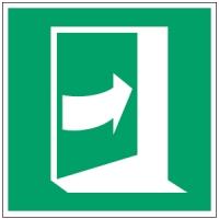 ISO Sicherheitskennzeichnung - Tür öffnet durch Aufdrücken auf der linken Seite-PIC E023-100x100-PP-CRD/1