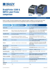 BradyPrinter i3300 & BBP33 comparison sheet - English