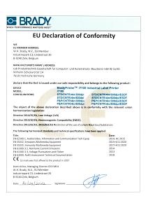 BradyPrinter i7100 Declaration of Conformity