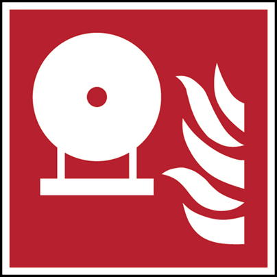 Fest eingebaute Feuerlösch-Flasche–ISO 7010-F/F013/NT-ALU-150X150/1-B