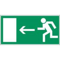 Langnachleuchtendes Schild - Rettungsweg nach links