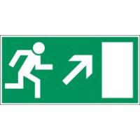 Langnachleuchtende Sicherheitskennzeichnung - Rettungsweg nach rechts aufwärts