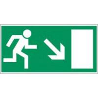 Langnachleuchtende Sicherheitskennzeichnung - Rettungsweg nach rechts abwärts