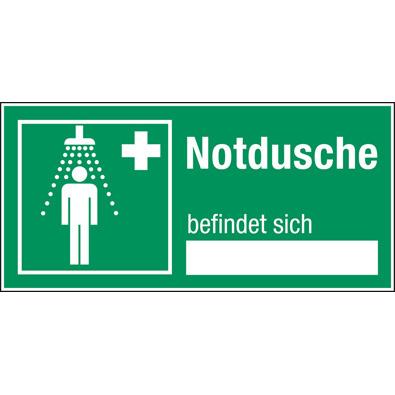 Hinweisschilder mit Freifeld - Notdusche befindet sich