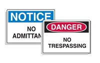 Admittance Signs