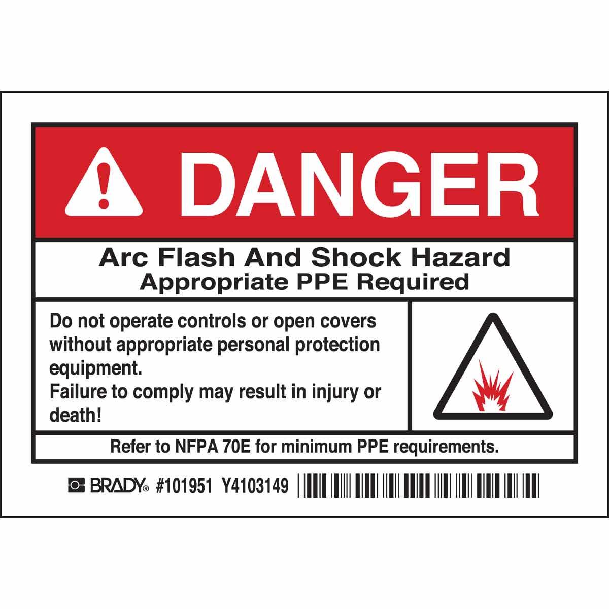 Brady part 101951 danger arc flash and shock hazard for Danger arc flash labels