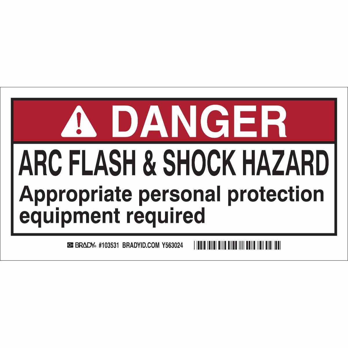 DP- 2X4 ARC FLASH & SHOCK LBL,10 Package