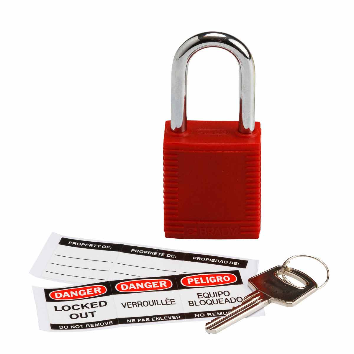 "Brady 103533 Nylon Safety Padlock, Steel Shackle, 1.5"" Vertical Clearance, Keyed Different, Red"