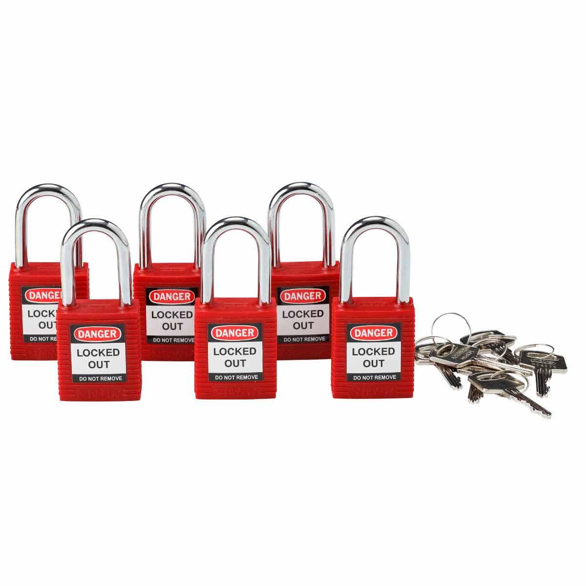 BRADY 105890 Brady Sfty Padlock,1.5 In Red Ka 6/Pack