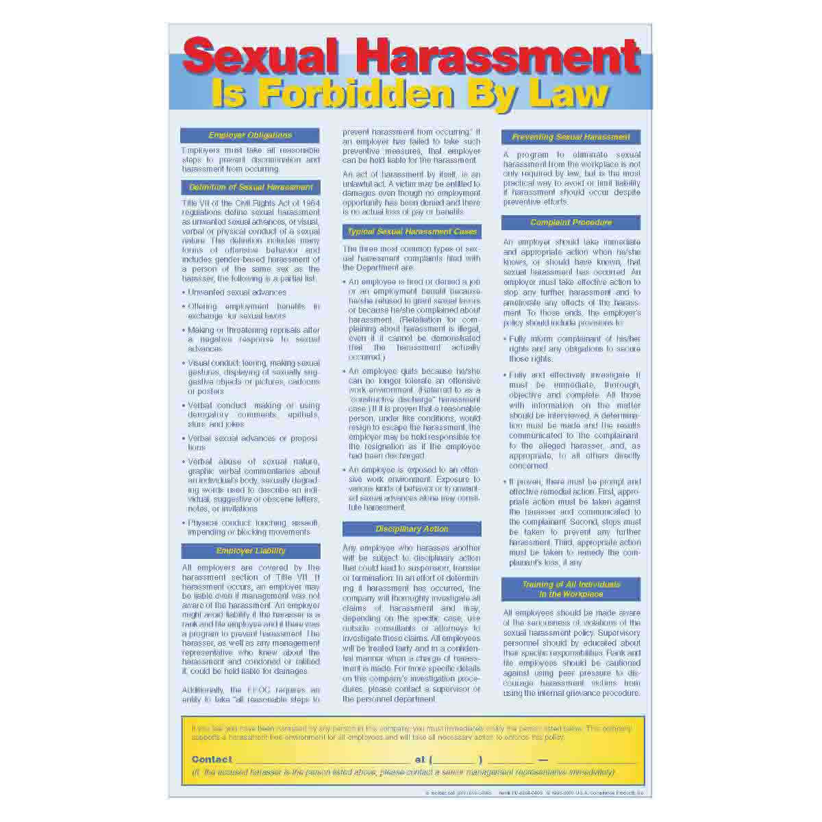 Osha sexual harassment poster laws