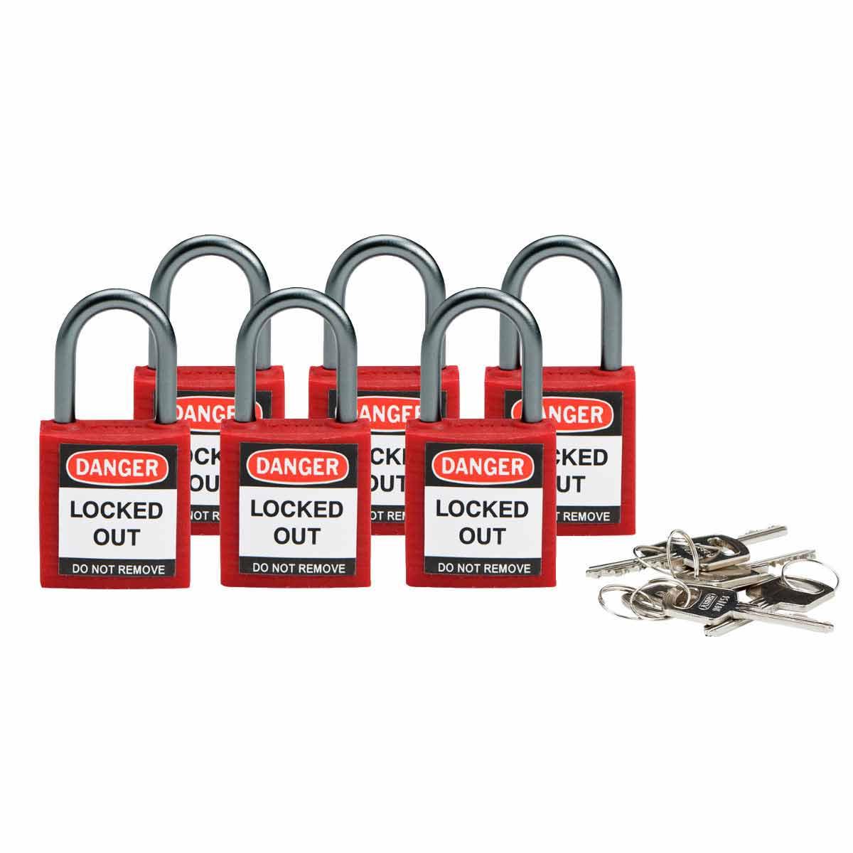BRADY 118926 Brady Compact SafetyPadlock Red Kd 6/Pk