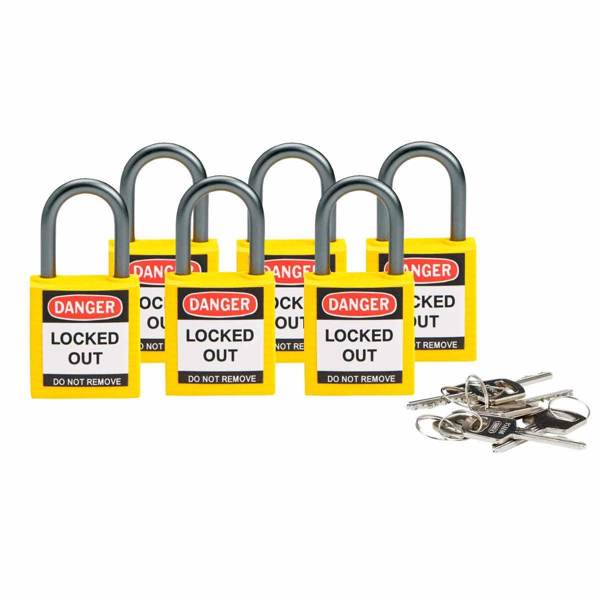 6 Locks Brady 118932 White Brady Compact Safety Lock Keyed Different