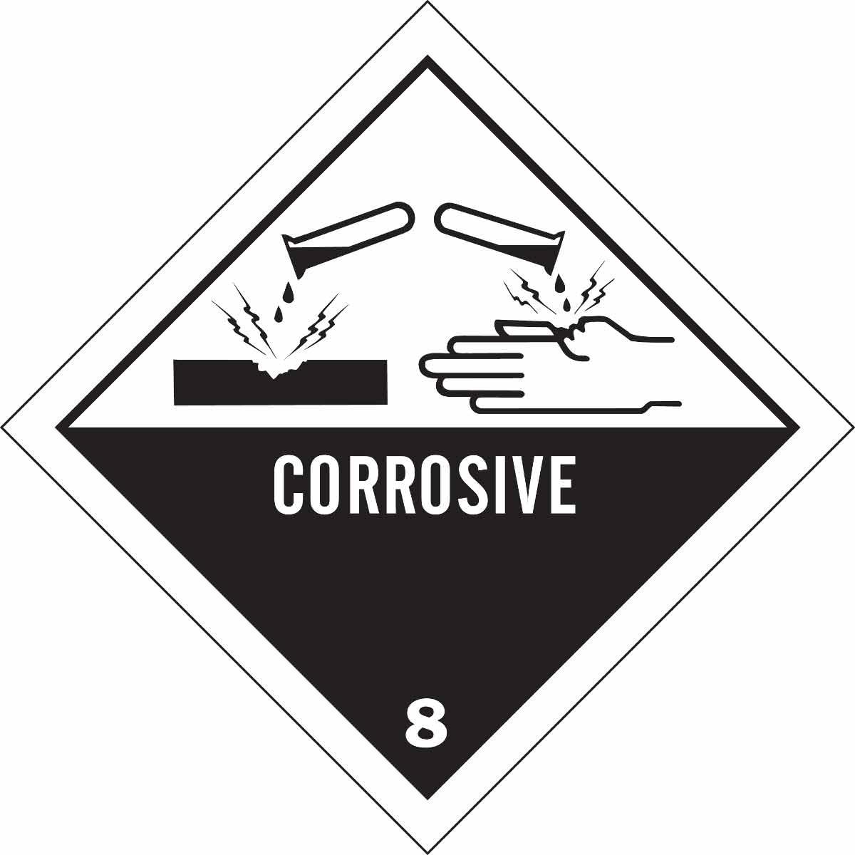 Brady Part 121070 Corrosive 8 Hazardous Material Shipping Labels