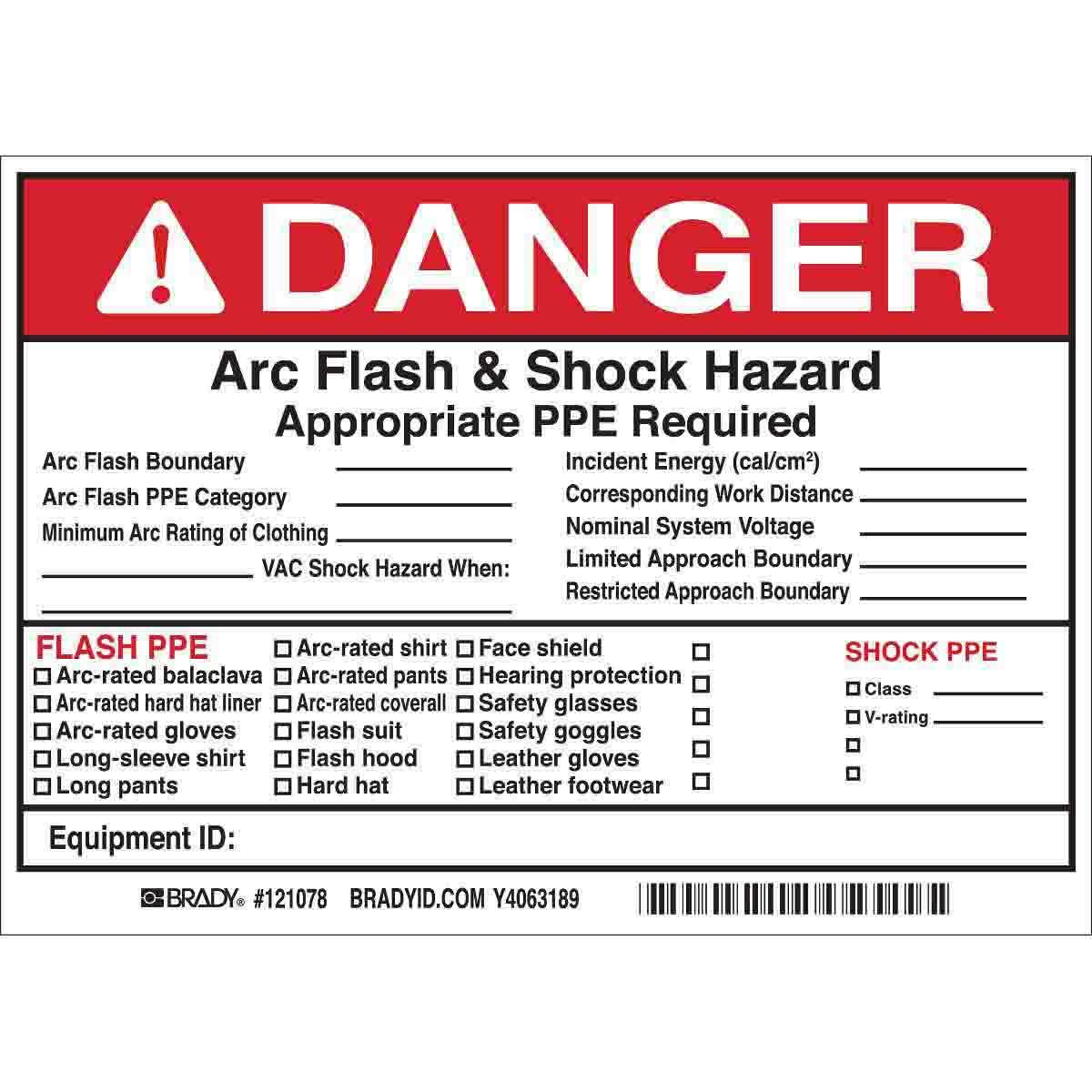 Brady part 121078 danger arc flash boundary arc flash for Danger arc flash labels
