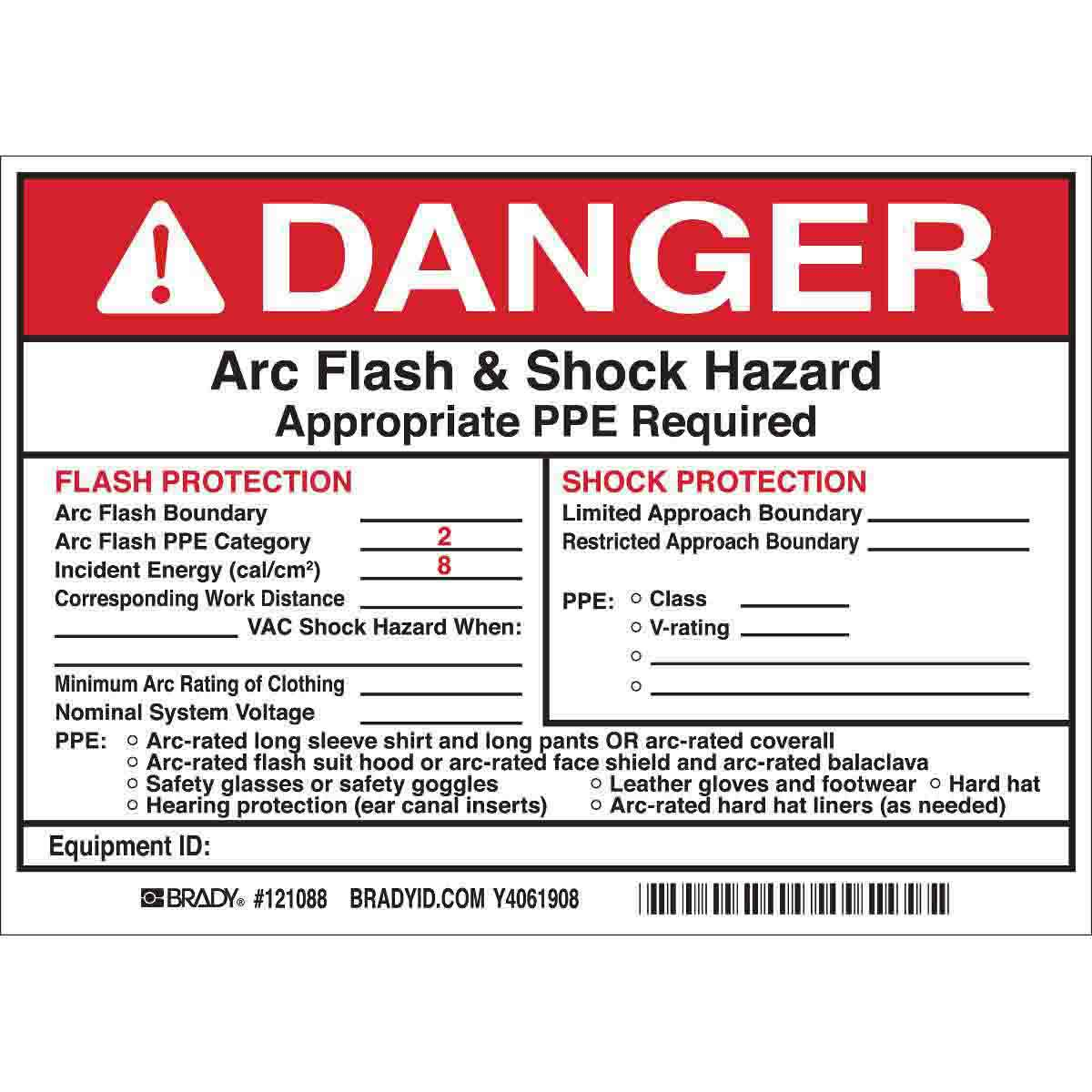 DANGER Flash Protection Arc Flash Boundary Arc Flash PPE Category ...