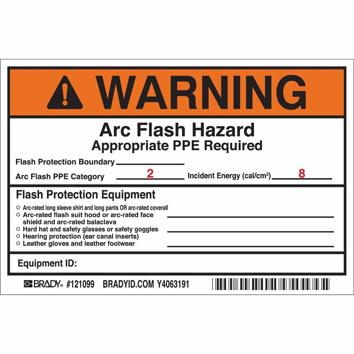 WARNING Flash Protection Boundary Arc Flash PPE Category 2 ...