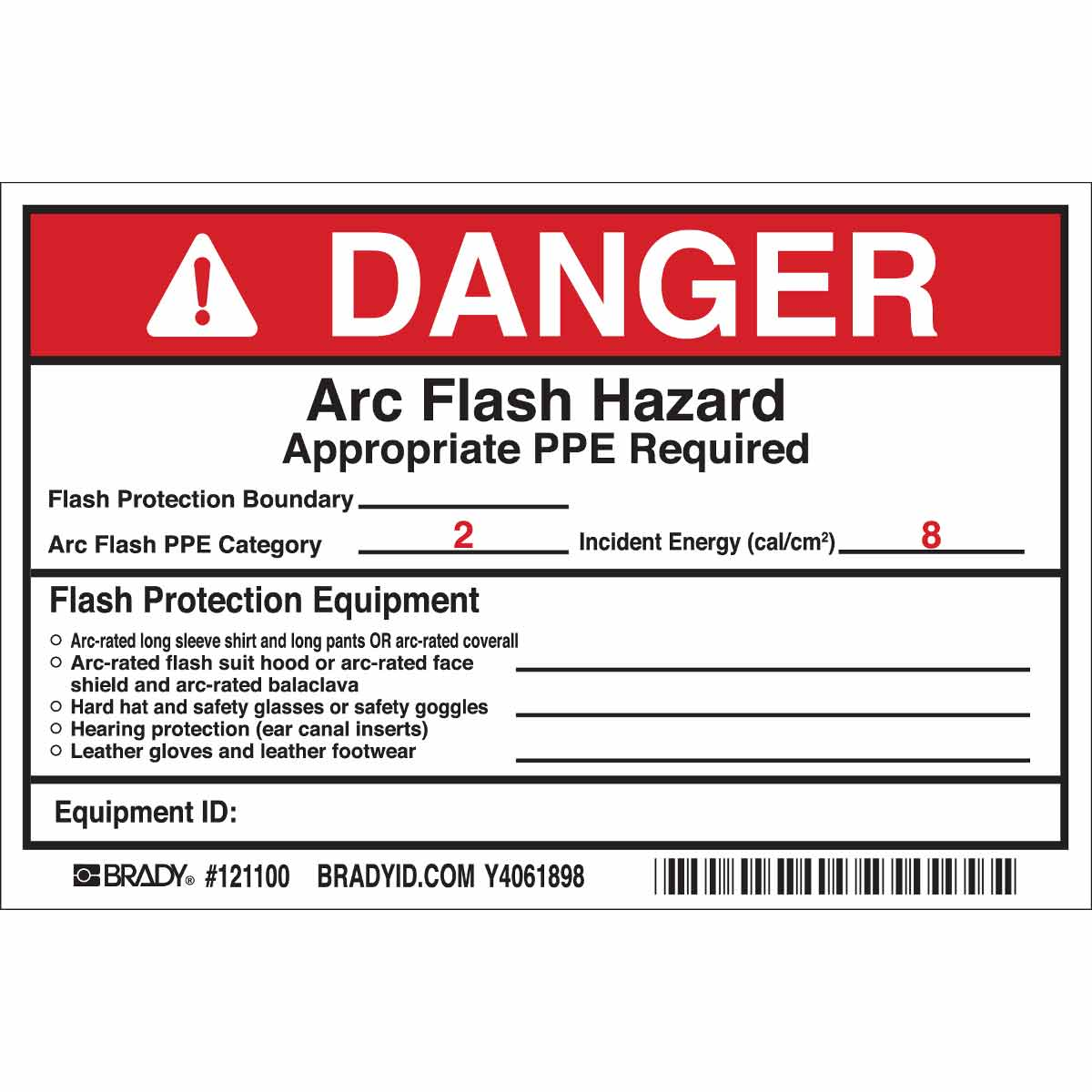 DANGER Flash Protection Boundary Arc Flash PPE Category 2 Incident ...