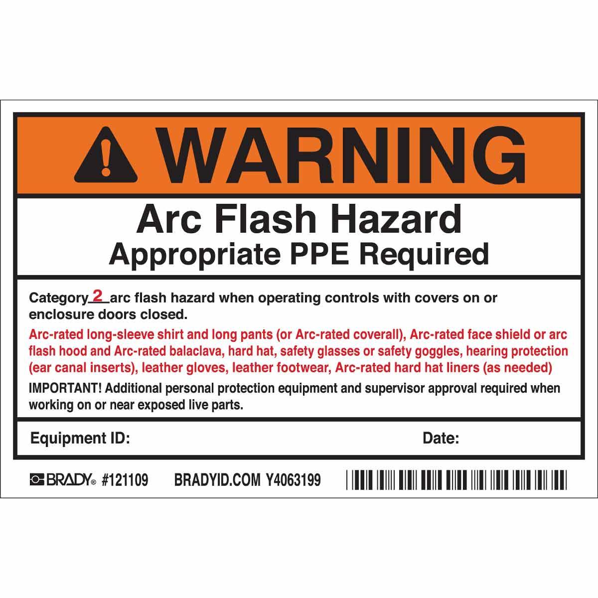 Brady part 121109 warning arc flash hazard appropriate for Danger arc flash labels