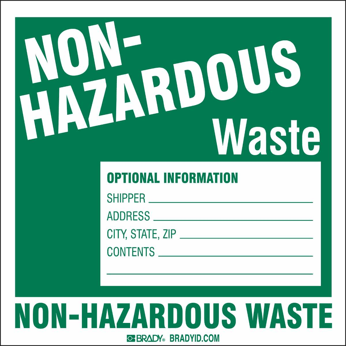 photo about Free Printable Hazardous Waste Labels identify NON-Damaging Squander OPTIONAL Articles SHIPPER, Deal with, CONTENTS Labels