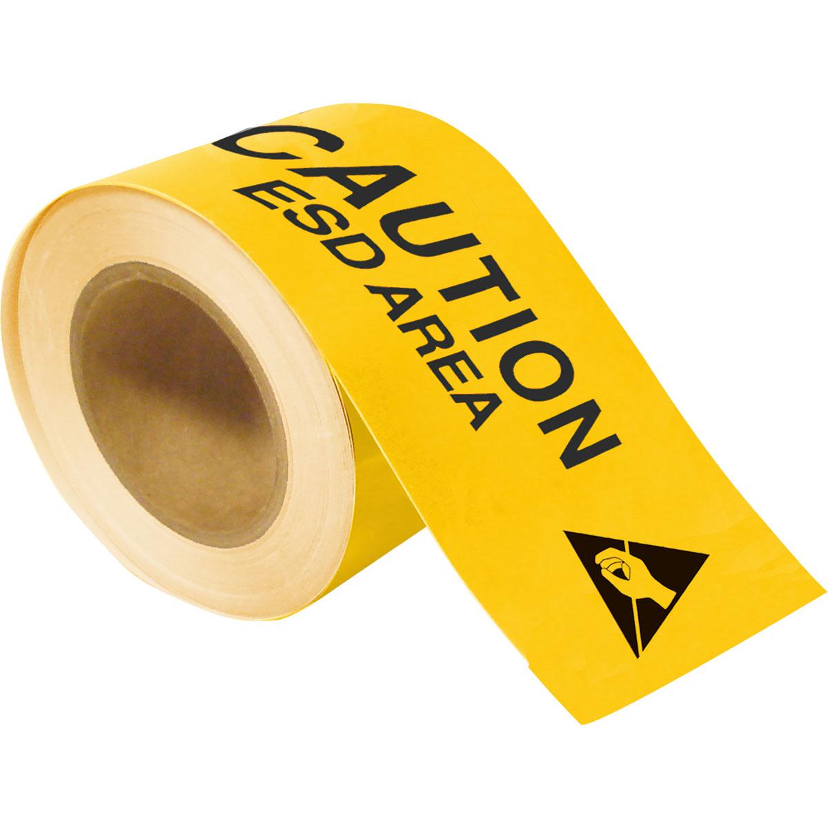 Part 121369 ToughStripe CAUTION ESD AREA 4 X100 39 Yellow Floor