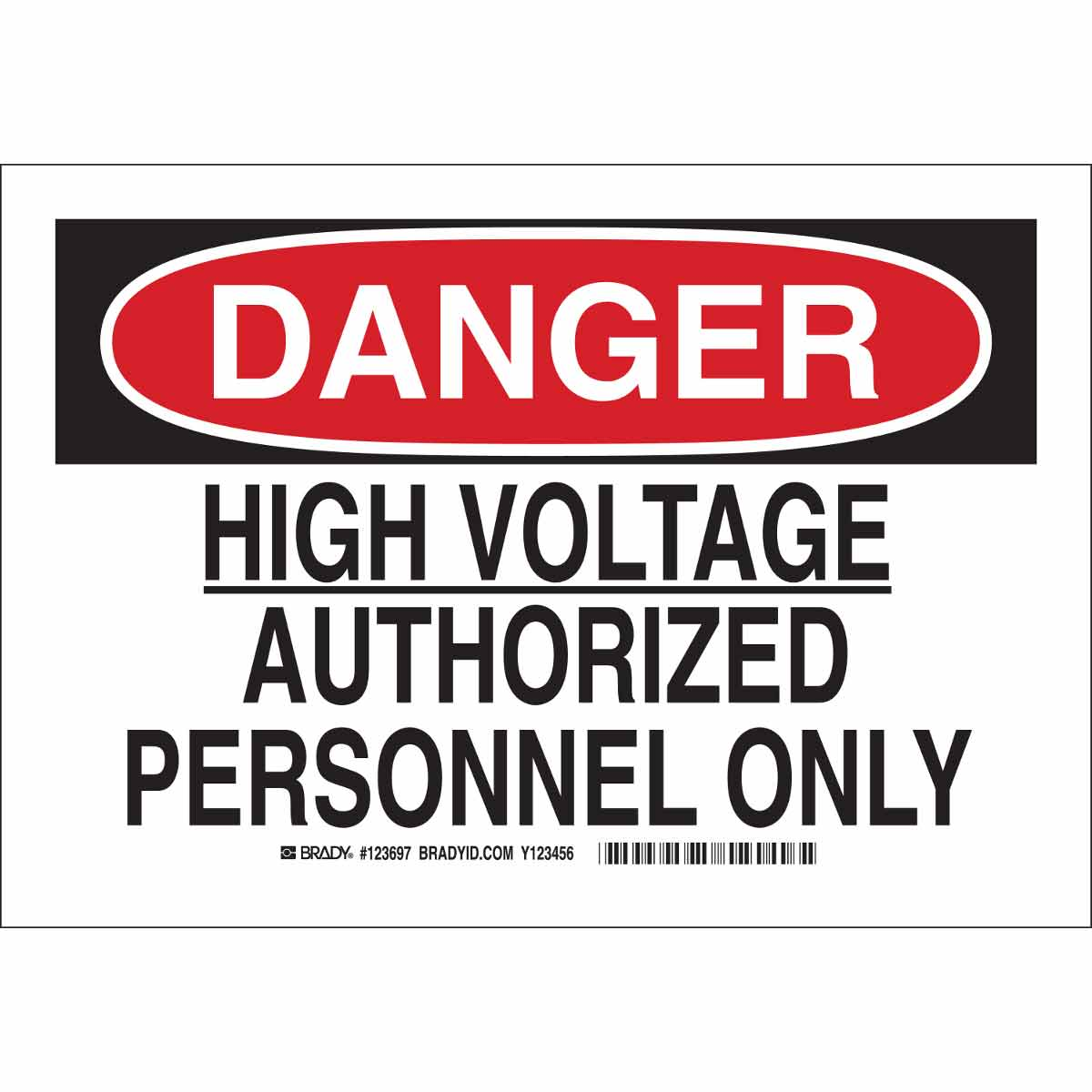Brady Part: 123695 | DANGER High Voltage Authorized Personnel Only ...