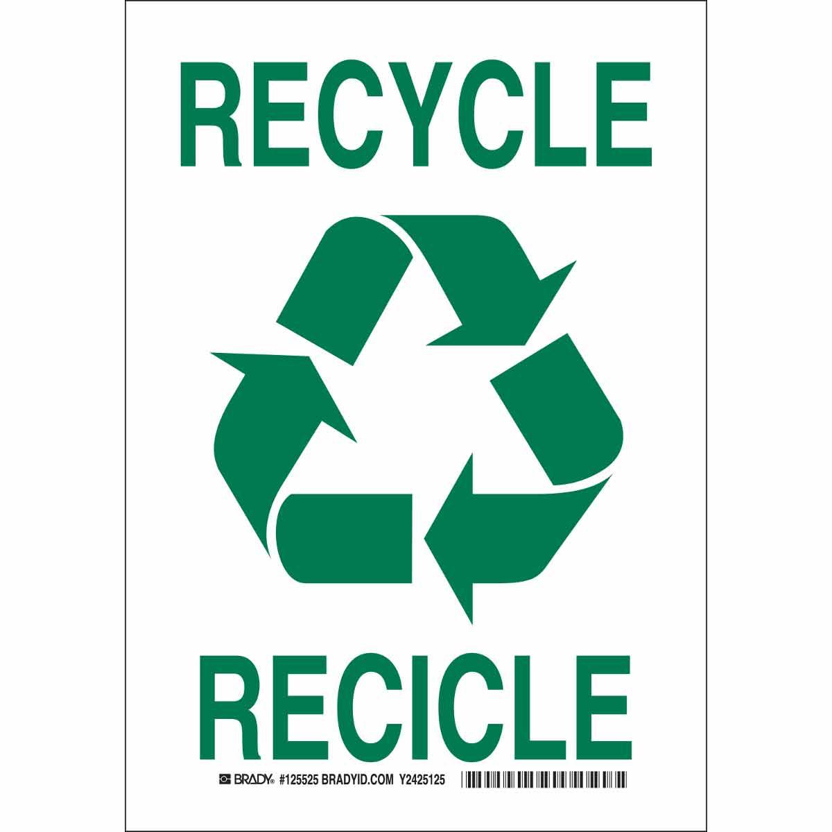 brady part 125523 bilingual recycle sign bradyid com