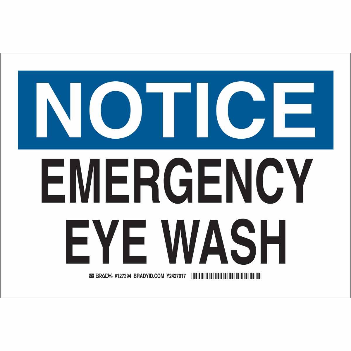 NOTICE Emergency Eye Wash Sign