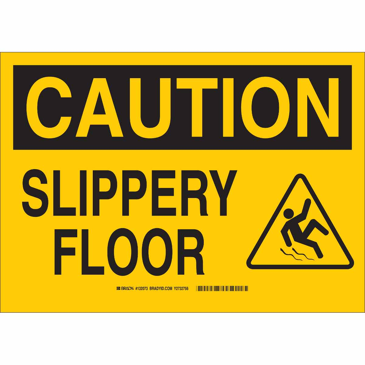 Brady part 132075 caution slippery floor sign for Floor banner