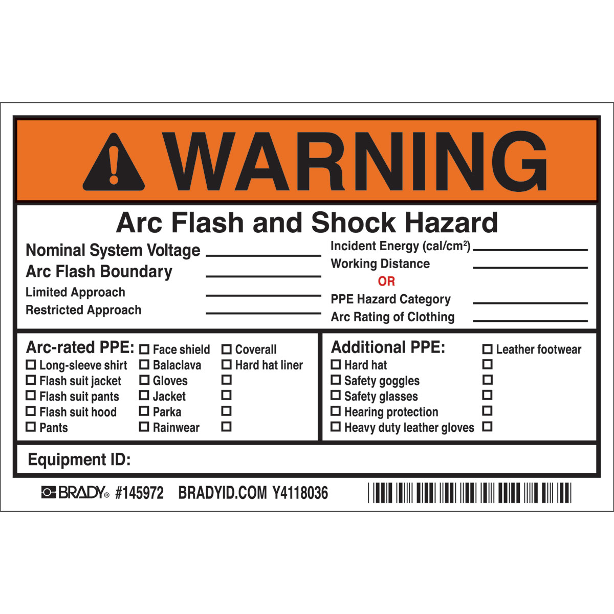 brady part 145972 warning arc flash and shock hazardnominal system voltagearc flash boundaryrestricted labels bradyidcom