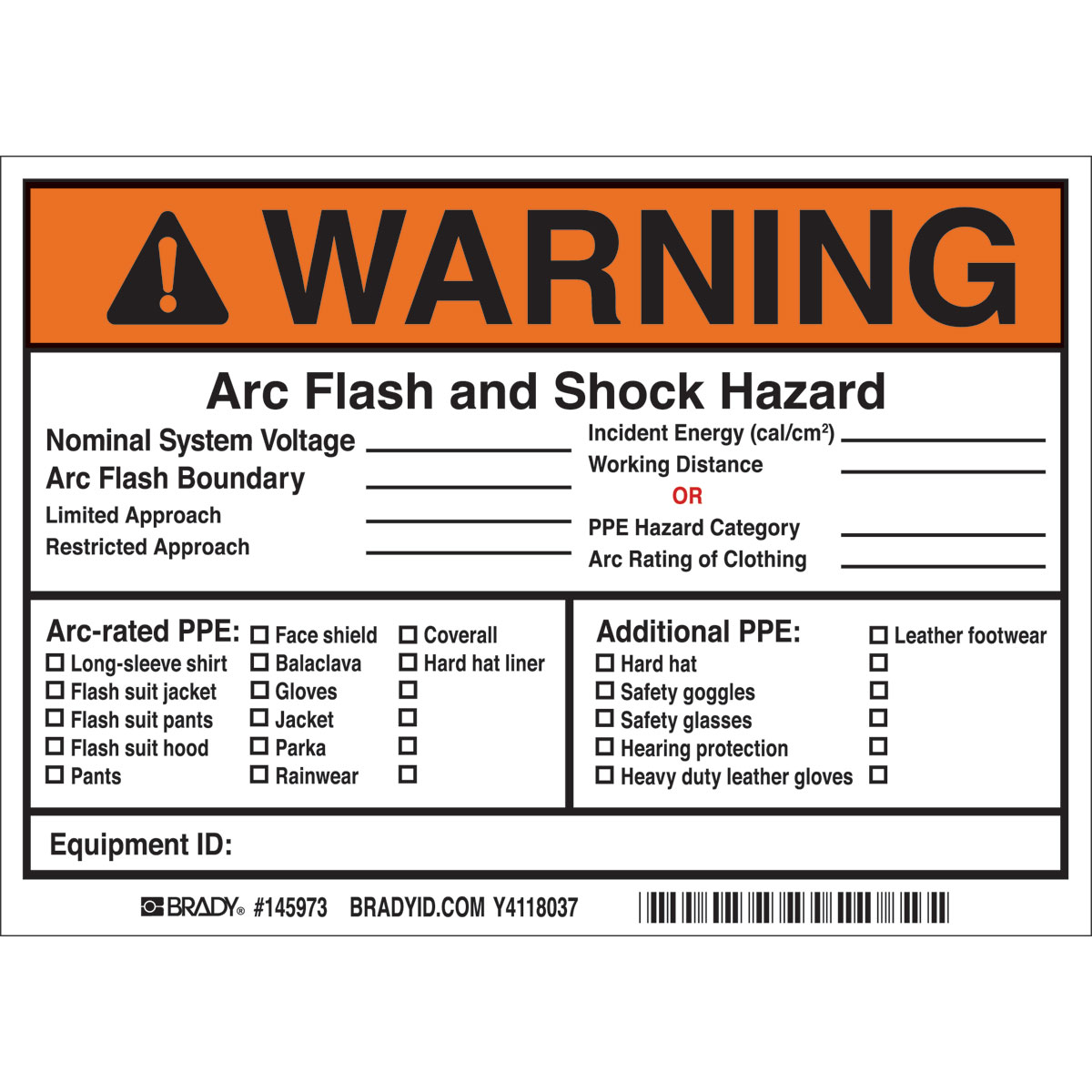 brady part 145973 warning arc flash and shock hazardnominal system voltagearc flash boundaryrestricted labels bradyidcom