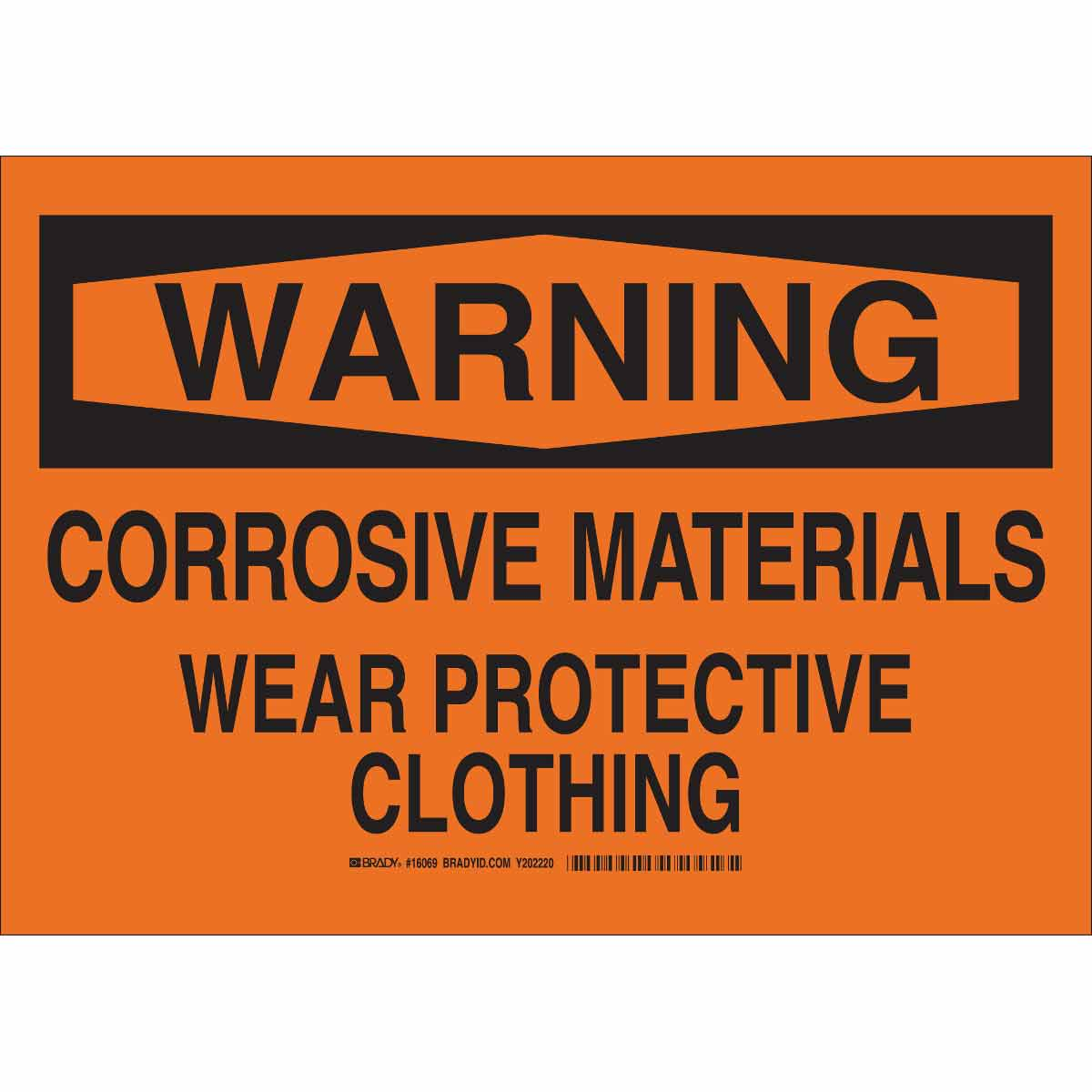 WARNING Corrosive Materials Wear Protective Clothing Sign