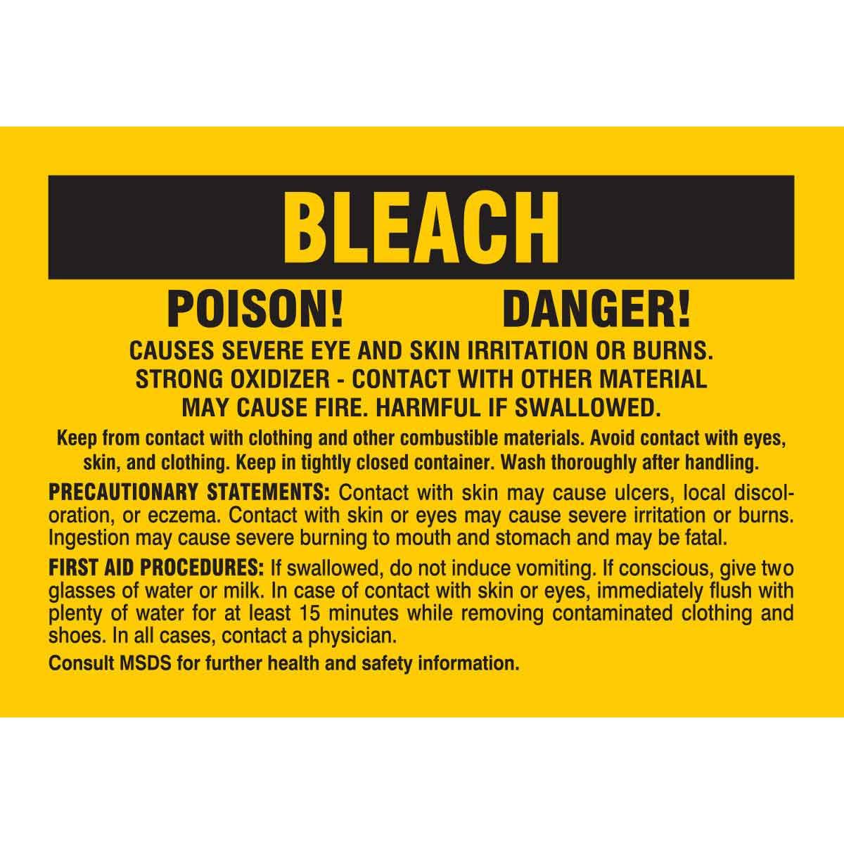 Bleach Poison Danger Causes Severe Eye and Skin Irritation Or Burns Labels