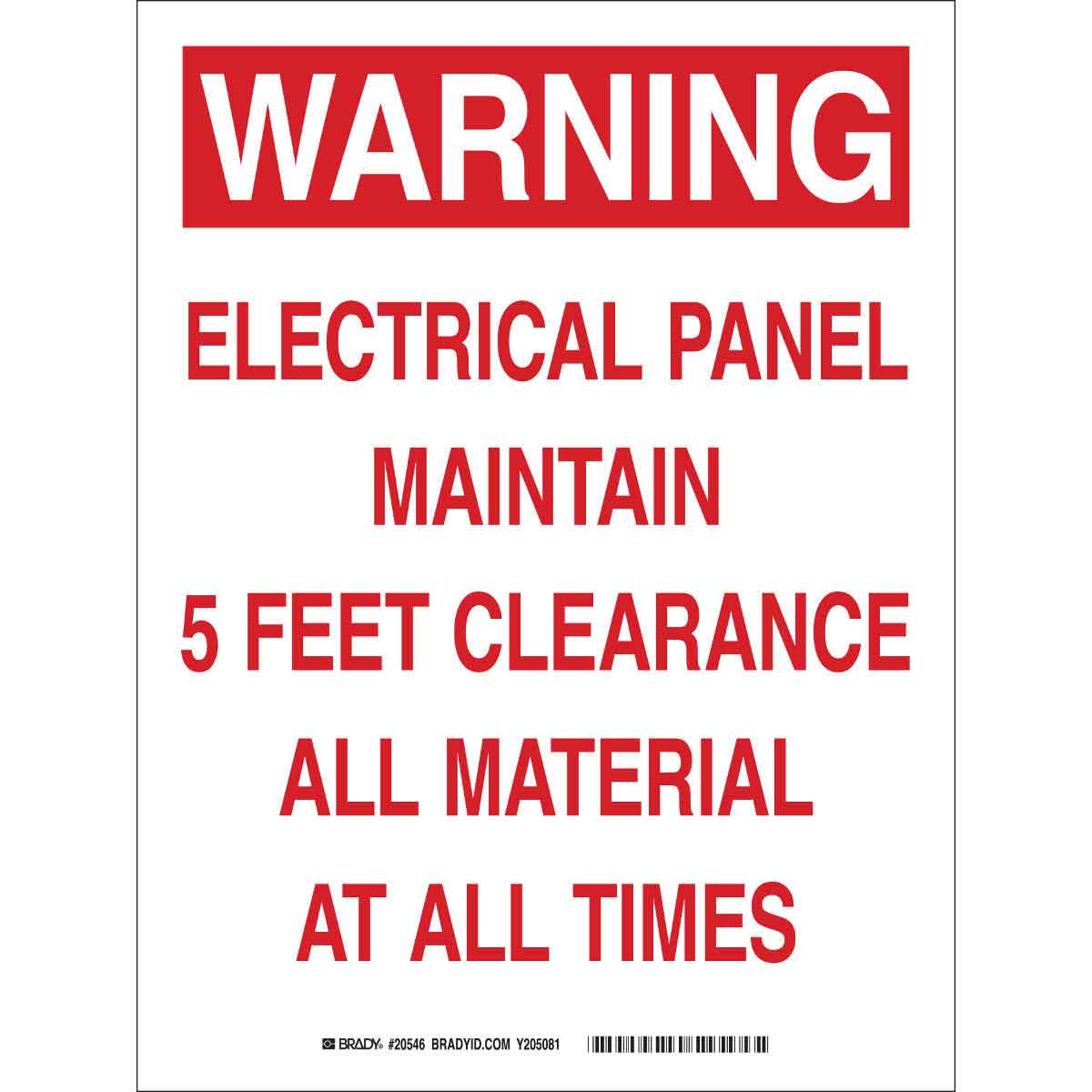 dy Part: 20546 | WARNING Electrical Panel Maintain 5 Feet ... on electric panels and disconnects, nfpa electrical panel clearance, osha electrical panel clearance, eletric tape panel clearance, nec panel clearance, national electrical code panel clearance,